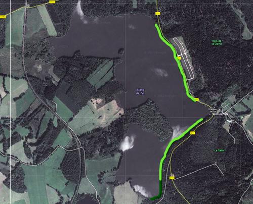 Plan des zones de l'étang de Tyx, pêche dans le 63